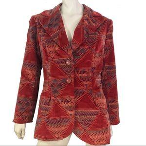 Vintage 70s Jacket Southwestern Equestrian Velvet